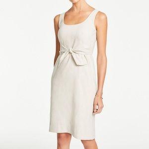 Ann Taylor Linen Sleeveless Tie-Front Sheath Dress